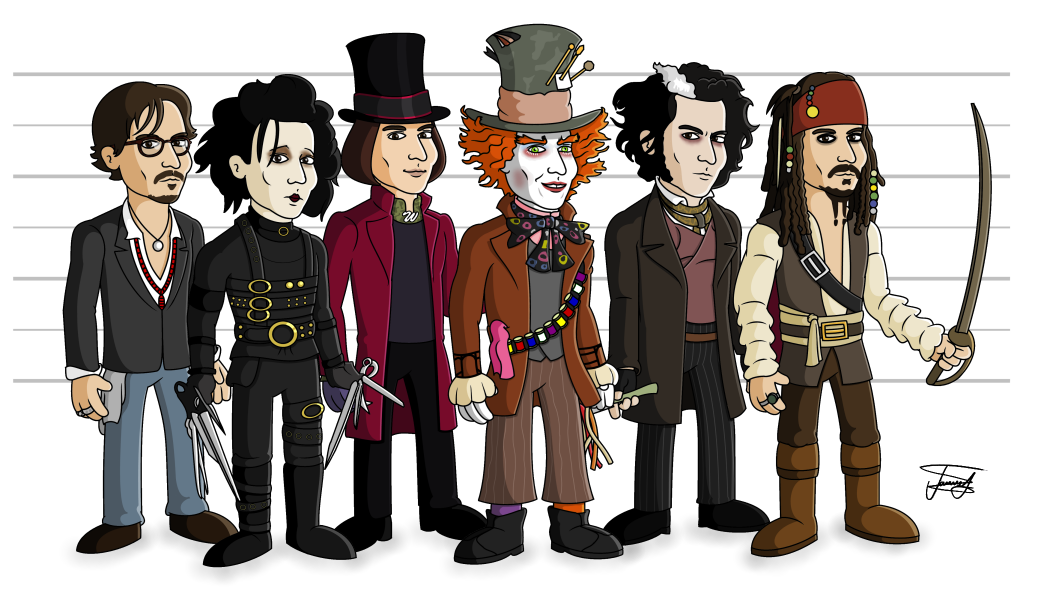 Johnny depp cartoons johnny depp edward scissorhands willy wonka mad