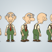 Old Man Character Design Model Sheet