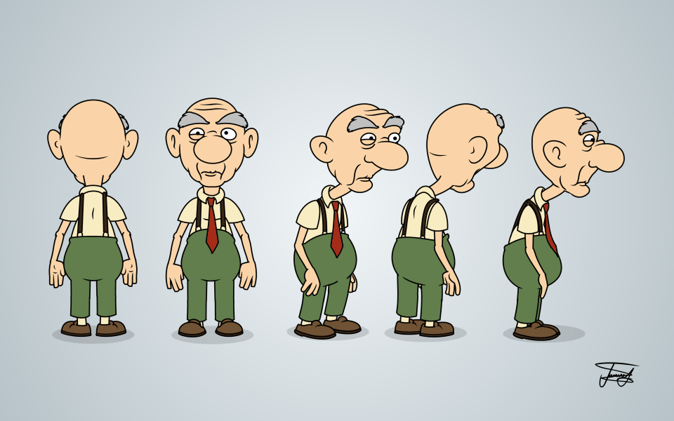 Cartoon Characters Design : Old man cartoon character