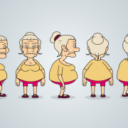 Old Lady Character Design Model Sheet