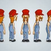 Redneck Character Design Model Sheet